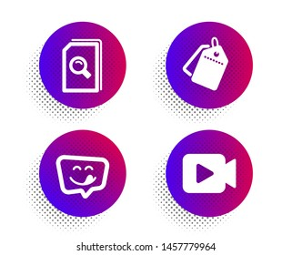 Yummy smile, Sale tags and Search files icons simple set. Halftone dots button. Video camera sign. Emoticon, Discount labels, Magnifying glass. Movie or cinema. Technology set. Vector