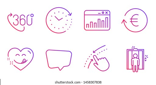 Yummy smile, Time change and Swipe up line icons set. 360 degree, Marketing statistics and Chat message signs. Exchange currency, Elevator symbols. Comic heart, Clock. Business set. Vector