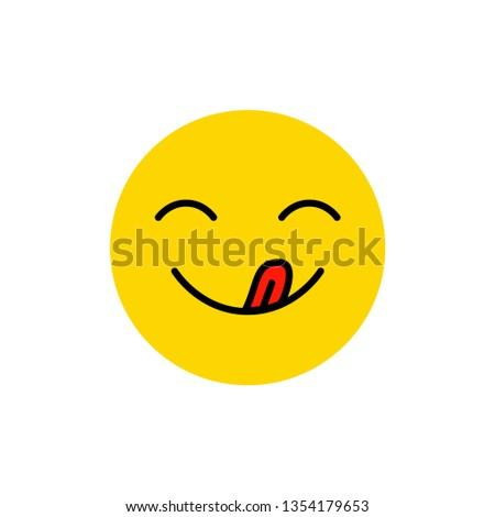 Yummy Smile Tongue Hungry Emoji Face Stock Vector Royalty Free