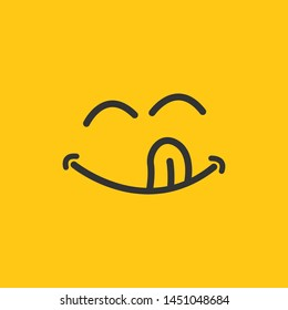 Yummy smile vector cartoon line emoticon with tongue lick mouth. Delicious tasty food eating emoji face on yellow design background, vector illustration