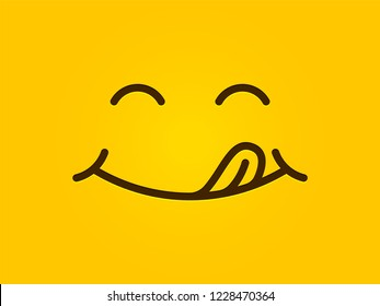 Yummy smile yellow background. Vector cartoon line emoticon lick lips, delicious tasty eating emoji face