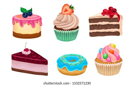 Yummy Sweet Desserts Vector Illustration Set Isolated On White Background