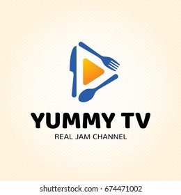 Yummy TV logo design template. Vector cooking symbol illustration background. Color label for cook show, recipe channel, food blog. Graphic broadcast icon emblem with fork, spoon, knife