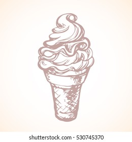 Yummy twist design fruit jam syrup softcream lollipop in crispy cupcake isolated on light backdrop. Freehand outline ink hand drawn picture icon sketch in art retro cartoon doodle graphic style