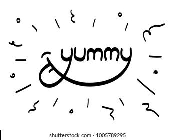 Yummy word inscription Vector lettering with tongue lick Hand-drawn calligraphy