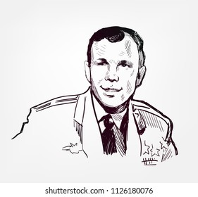 Yuri Gagarin vector sketch portrait illustration