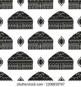 Yurt. Housing. Patterns. Black silhouette on white background. Wallpaper, seamless.