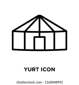 Yurt icon vector isolated on white background, Yurt transparent sign , line or linear sign, element design in outline style