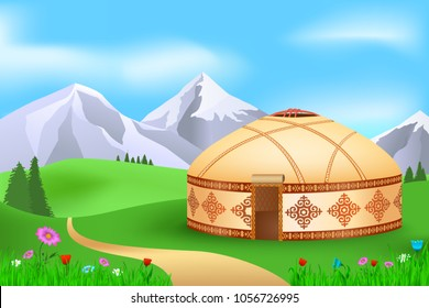 Yurt in the summer pasture, vector illustration landscape