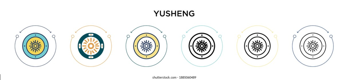 Yusheng icon in filled, thin line, outline and stroke style. Vector illustration of two colored and black yusheng vector icons designs can be used for mobile, ui, web
