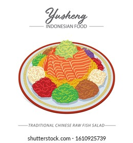 Yusheng, a Traditional Chinese new year celebration dish. Consists of strips of raw fish also mixed with shredded vegetables.