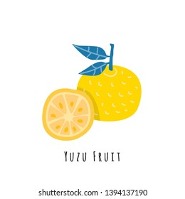 Yuzu fruit flat vector illustration. Cartoon slices of exotic, tropical fresh fruit. Clipart with typography. Isolated icon for healthy cooking menu, logo design element