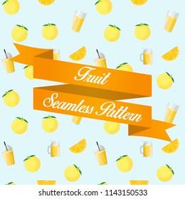 Yuzu Fruit Juice Seamless Pattern Background