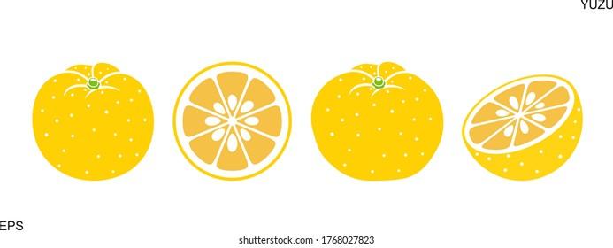 Yuzu fruit logo. Isolated yuzu fruit on white background