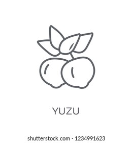 Yuzu linear icon. Modern outline Yuzu logo concept on white background from Fruits and vegetables collection. Suitable for use on web apps, mobile apps and print media.