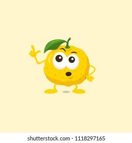 Yuzu mascot is afraid of something strange. Flat design style for your mascot branding.
