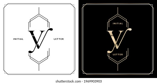 YV or VY initial letter and graphic name, YV or VY Monogram, for Wedding couple monogram, logo company and icon business, with black white colors and golds colors