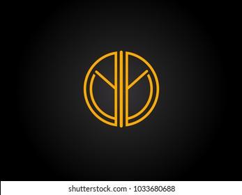 YY Circle Shape golden yellow Letter logo Design