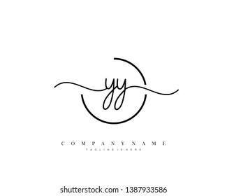 YY initial handwriting logo template vector