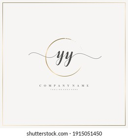 YY Initial Letter handwriting logo hand drawn template vector, logo for beauty, cosmetics, wedding, fashion and business