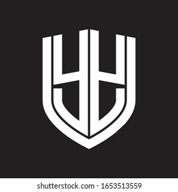 YY Logo monogram with emblem shield design isolated on black background