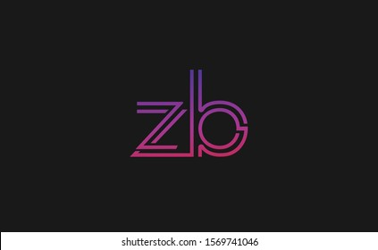 Z ,B ,ZB ,BZ Letter Logo Design with Creative Modern Trendy Typography