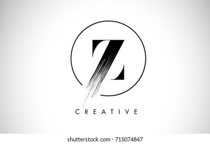 Z Brush Stroke Letter Logo Design. Black Paint Logo Leters Icon with Elegant Circle Vector Design.