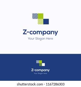 Z company logo. Tetris green blue logotype. Tile grid letters template