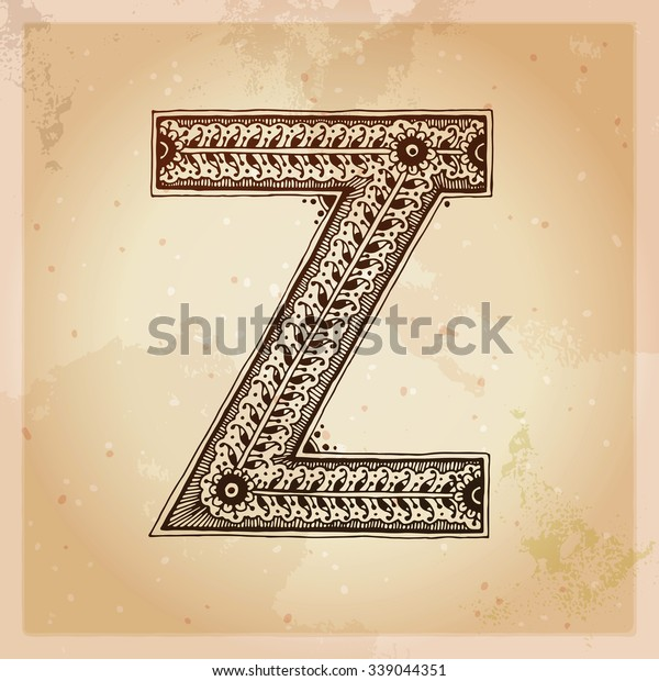 Z Decorative Letter Hand Drawn Alphabet Stock Vector