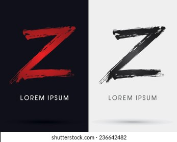 Z grungy font, brush, logo, symbol, icon, graphic, vector .