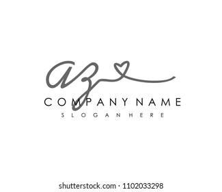 A Z Initial handwriting logo vector