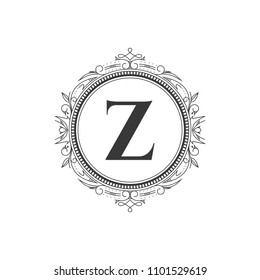 Z initial letter logo template with luxury ornament