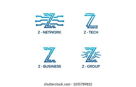 Z initial Tech logo vector set, Cool Z Initial Wire logo template vector