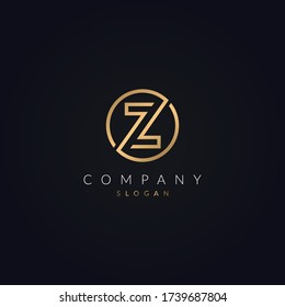 Z letter Abstract logo template - circle Z sign vector golden color icon design.