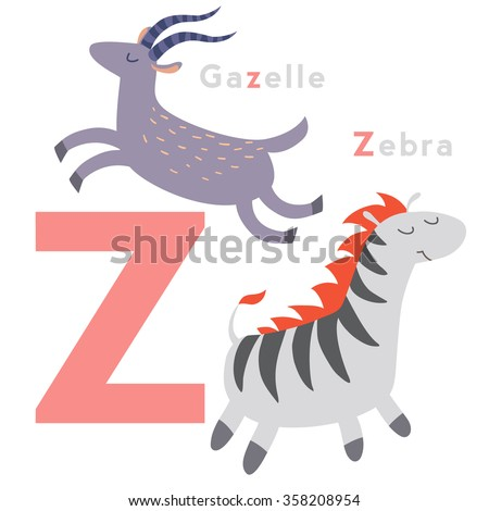 Z letter animals set. English alphabet. Vector illustration, isolated on white background