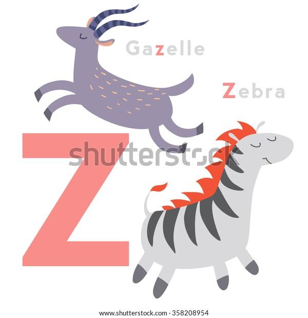 Z letter animals set. English alphabet. Vector illustration, isolated on white background