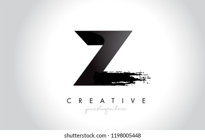 Z Letter Design with Brush Stroke and Modern 3D Look Vector Illustration.