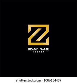 Z Letter in Gold Monogram Style Logo Design