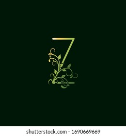 Z Letter Green Floral Initial Logo Icon. Vector design concept ornate typographic abstract floral for decorative lettering sign initial with swirl  floral leaf elements vintage, elegant, luxury style