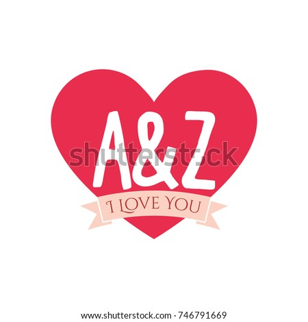 Z Letter Inside Heart St Valentines Stock Vector Royalty Free