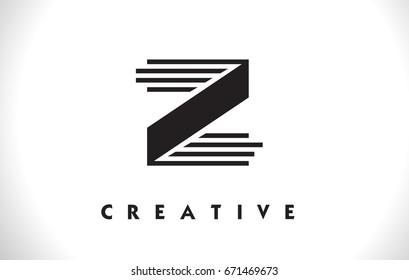 Z Letter Logo With Black Lines Design. Line Letter Symbol Vector Illustration