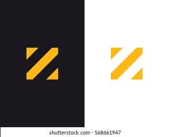 Z Letter Logo concept. Creative Minimal Alphabet emblem design template. Graphic Symbol for Corporate Business Identity. Creative Vector yellow graphic element
