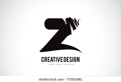 Z Letter Logo Design Brush Paint Stroke. Artistic Black Paintbrush Stroke.
