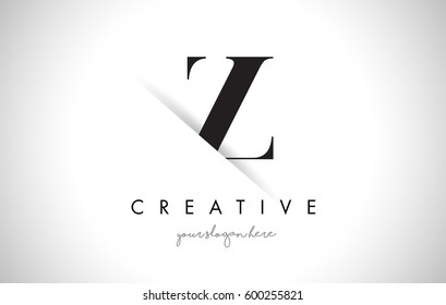 Z Letter Logo Design with Creative Paper Cut and Serif Font.