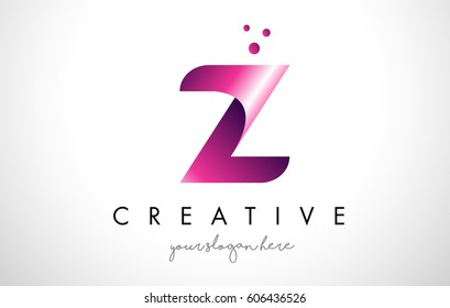 Z Letter Logo Design Template with Purple Colors and Dots