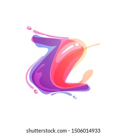 Z letter logo formed by watercolor splashes. Color overlay style. Vector typeface for labels, headlines, posters, cards etc.