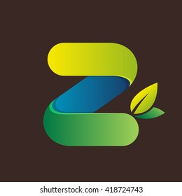 Z letter logo with green leaves. Font style, vector design template elements for your eco application or corporate identity.