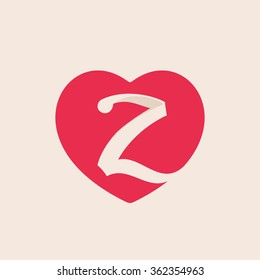 Z letter logo inside heart for st. Valentine's day design. Vector vintage design template elements for your application or corporate identity.