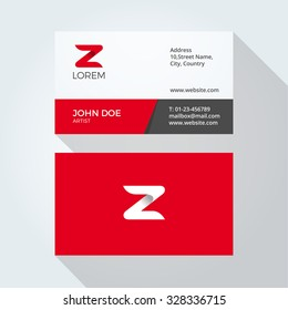 Z Letter Logo Modern Simple Abstract. Corporate Business card design template