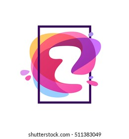 Z letter logo in square frame at watercolor splash background. Vector typography for your posters, invitations, cards.
